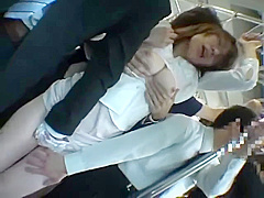 cougar and 3 men on train